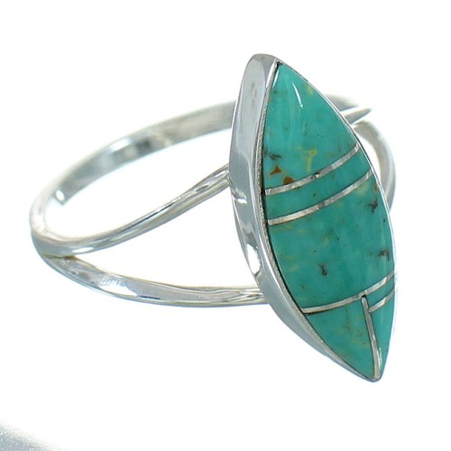 Silver Jewelry Turquoise Inlay Southwest Ring Size 6-3/4 AX89101