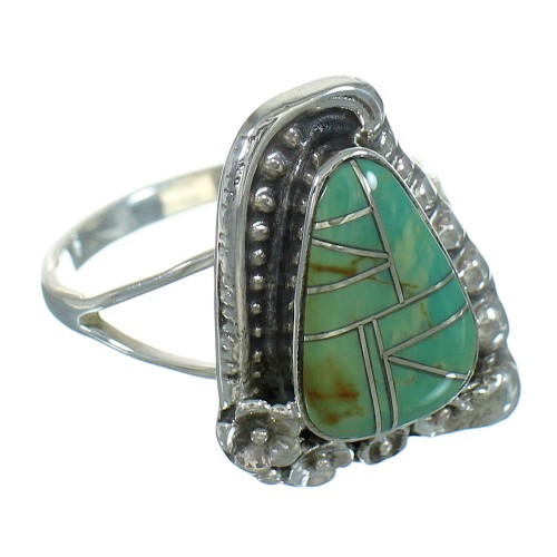Silver Turquoise Inlay Southwestern Flower Ring Size 8-1/2 AX89153