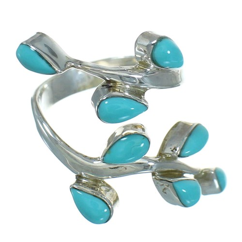 Southwestern Sterling Silver Jewelry Turquoise Ring Size 5-1/4 AX89232