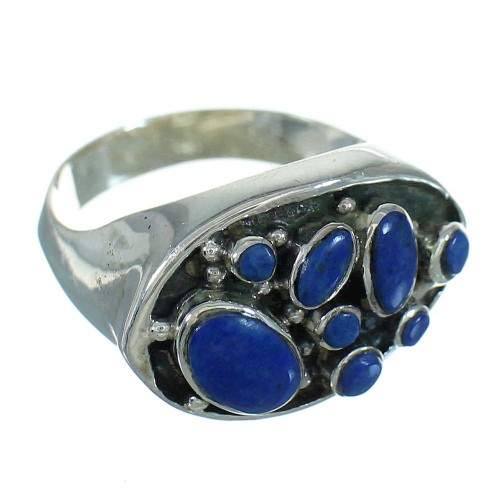 Silver Southwest Jewelry Lapis Ring Size 7-1/4 AX88494