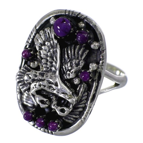 Genuine Sterling Silver Magenta Turquoise Eagle Ring Size 4-1/2 RX88779