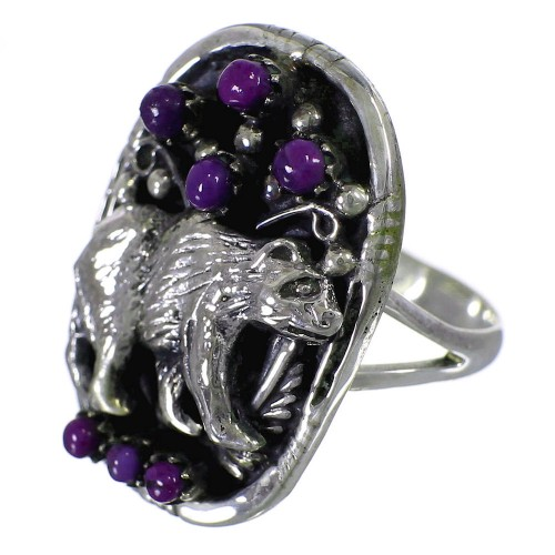 Magenta Turquoise Authentic Sterling Silver Bear Ring Size 7-3/4 RX88869