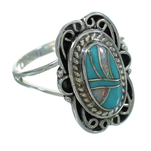 Authentic Sterling Silver Turquoise Opal Jewelry Ring Size 6-1/2 RX88467