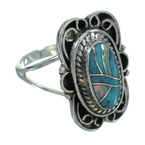 Authentic Sterling Silver Turquoise Opal Jewelry Ring Size 8 RX88474