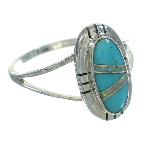 Opal Turquoise Inlay Genuine Sterling Silver Ring Size 7-1/2 RX88579