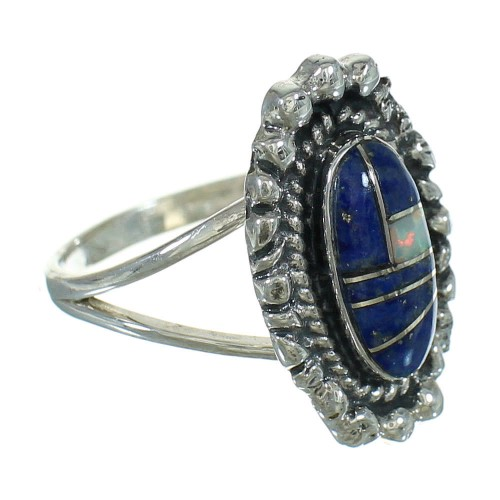 Opal And Lapis Inlay Silver Jewelry Southwestern Ring Size 6-3/4 AX88167
