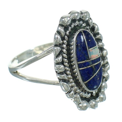 Opal And Lapis Genuine Sterling Silver Southwest Ring Size 4-1/2 AX88173