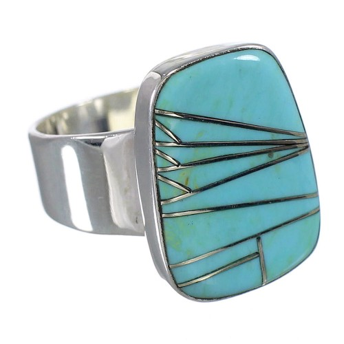 Silver Southwestern Turquoise Inlay Ring Size 7-1/2 AX88255