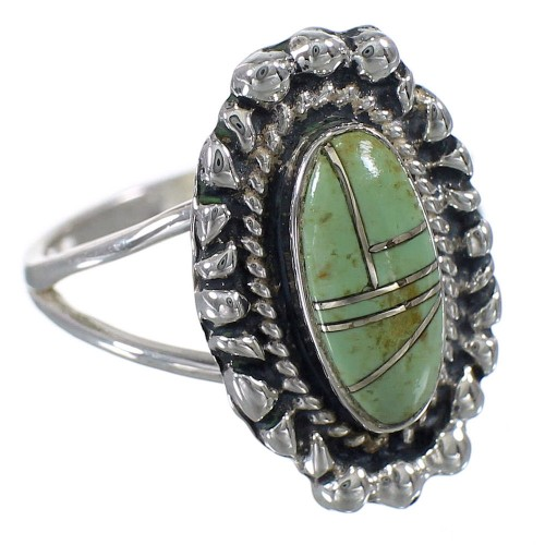 Silver Turquoise Inlay Ring Size 4-1/2 AX88293