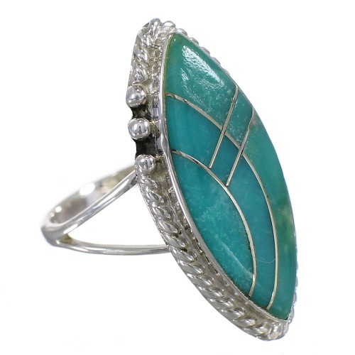 Southwestern Silver Turquoise Jewelry Ring Size 5-1/4 AX88324