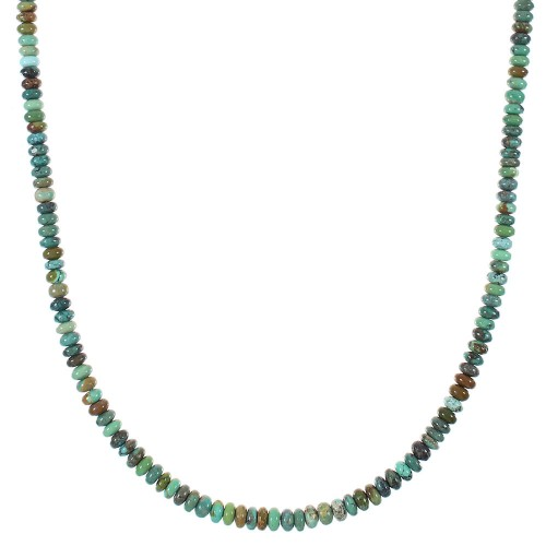 Turquoise Genuine Sterling Silver Bead Necklace AX85292