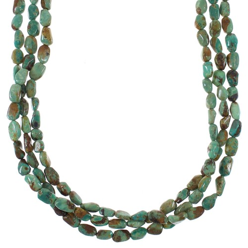 Kingman Turquoise And Authentic Sterling Silver Navajo 3-Strand Bead Necklace AX85106