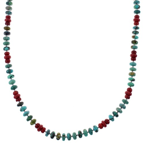 Turquoise And Coral Native American Sterling Silver Bead Necklace RX85720