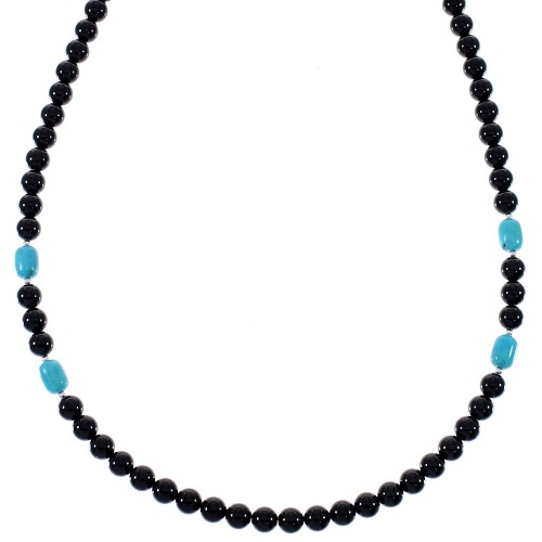 American Indian Sterling Silver Turquoise And Onyx Bead Necklace RX85779