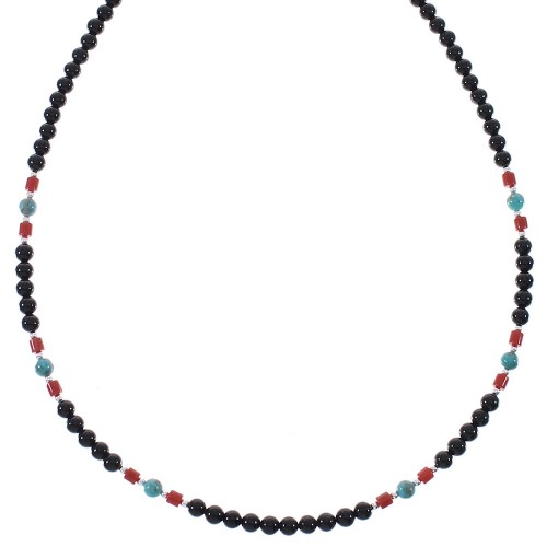 Sterling Silver And Multicolor Native American Bead Necklace RX85935