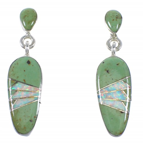 Southwest Opal Turquoise Authentic Sterling Silver Post Dangle Earrings RX86006