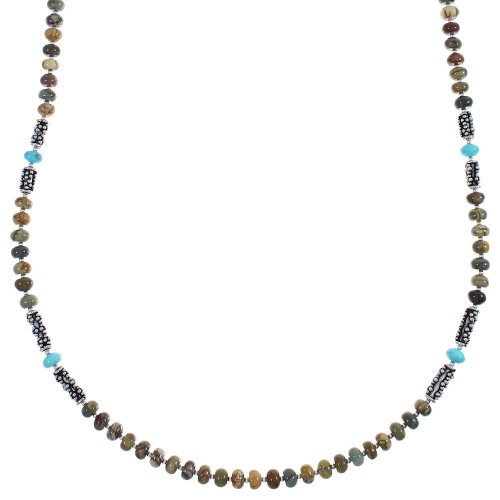 Turquoise And Assorted Jaspers Sterling Silver Navajo Bead Necklace AX88793