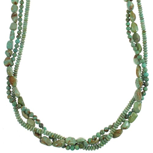 Silver Kingman Turquoise Navajo Indian 3-Strand Bead Necklace YX89163
