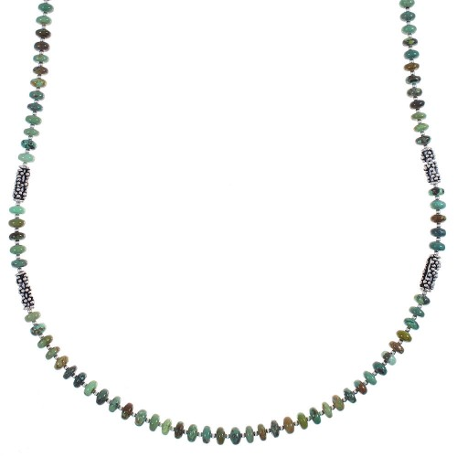 Kingman Turquoise Sterling Silver Navajo Indian Bead Necklace YX89218