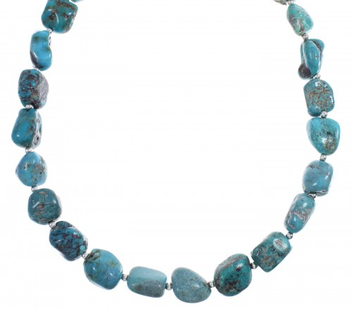 Turquoise Genuine Sterling Silver Navajo Bead Necklace RX88880