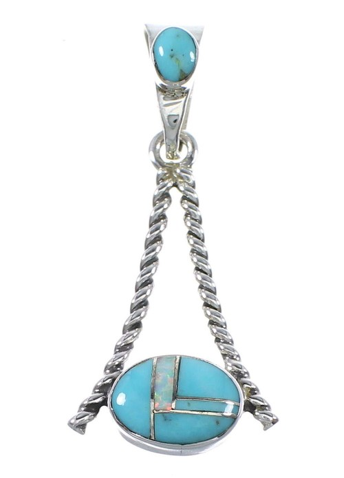 Southwest Turquoise Opal Sterling Silver Pendant RX89435