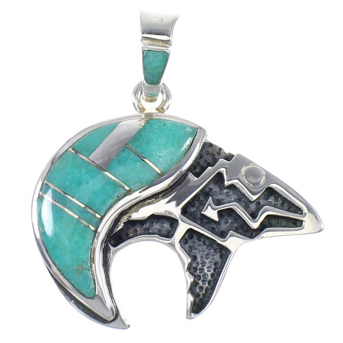 Turquoise Bear And Arrow Genuine Sterling Silver Pendant RX89450