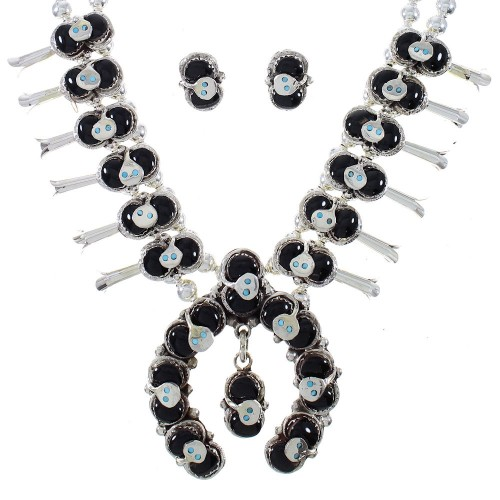 Turquoise And Onyx Silver Snake Squash Blossom Effie Calavaza Necklace Set AX90288