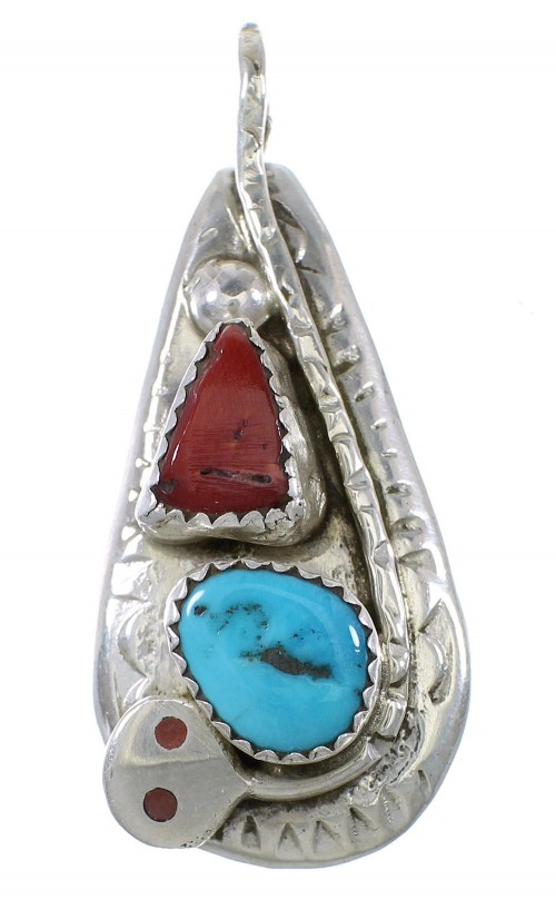 Coral And Turquoise Zuni Sterling Silver Snake Effie Calavaza Pendant AX91155