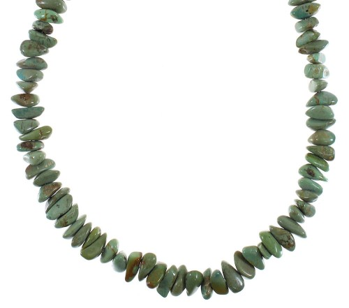 Genuine Sterling Silver Turquoise Southwest Bead Necklace AX91329