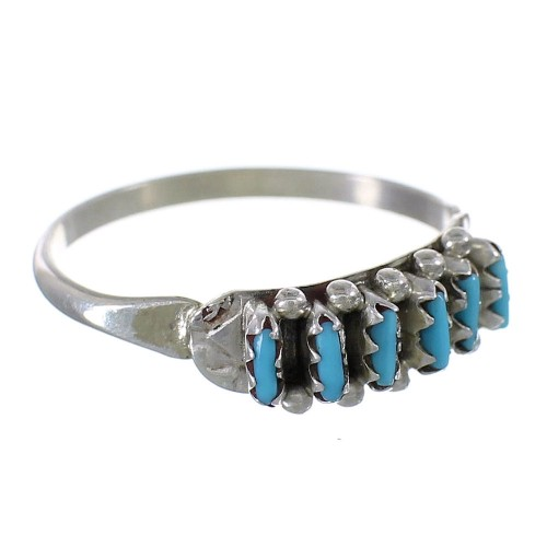 Zuni Indian Silver Turquoise Needlepoint Ring Size 6-1/2 YX90871
