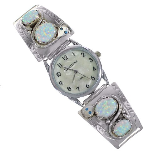 Authentic Sterling Silver Turquoise Opal Snake Effie Calavaza Zuni Watch RX91482
