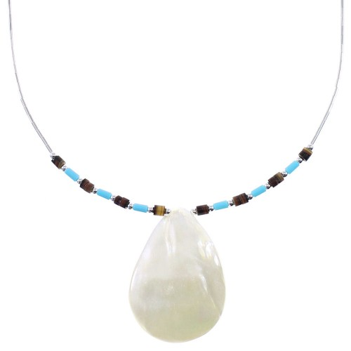 Liquid Silver Turquoise Mother Of Pearl Shell Necklace AX93742