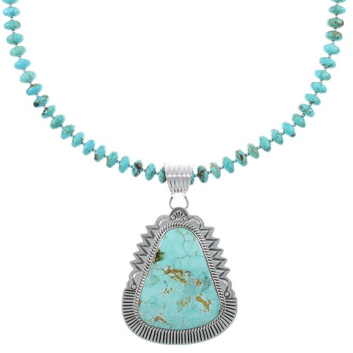 Royston Turquoise Navajo Silver Bead Necklace Set AX93945