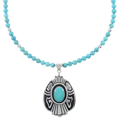 Sterling Silver Turquoise Navajo Tommy And Rose Singer Water Wave Bead Necklace Set AX93972