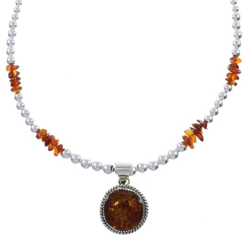 Amber Genuine Sterling Silver Navajo Bead Necklace Set AX94004