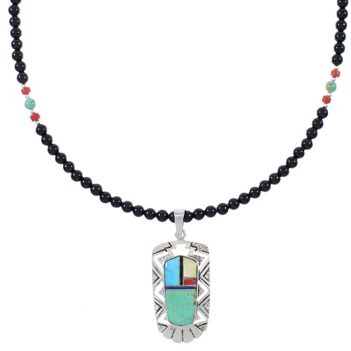 Multicolor Southwestern Authentic Sterling Silver Necklace Set AX93875