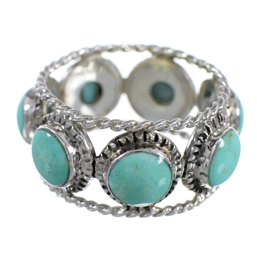 Turquoise Genuine Sterling Silver Southwestern Ring Size 7-1/2 YX93997