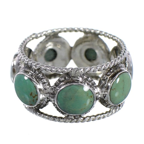 Southwest Authentic Sterling Silver Turquoise Ring Size 7-3/4 YX94030