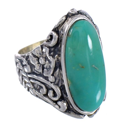 Southwest Silver Flower Turquoise Jewelry Ring Size 5-1/2 RX94050