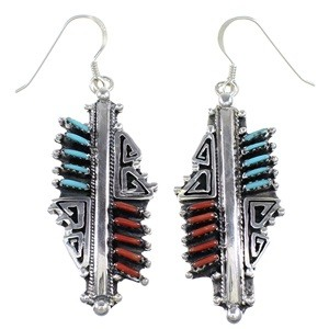 Coral And Turquoise Southwest Hook Dangle Earrings GS58413