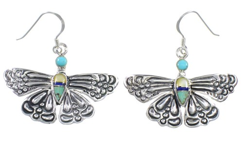 Southwest Multicolor Sterling Silver Butterfly Dangle Earrings DW73015