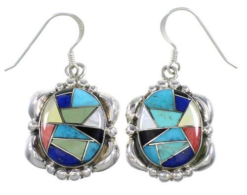 Multicolor Inlay Southwest Sterling Silver Hook Earrings MW68091