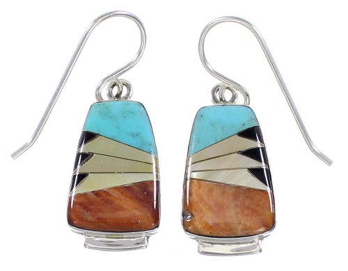 Southwest Sterling Silver Multicolor Post Earrings Jewelry BW63185