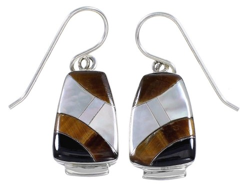 Southwest Multicolor Inlay And Sterling SilverJewelry Earrings BW63189