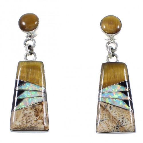 Sterling Silver Multicolor Inlay Post Dangle Earrings FS62376