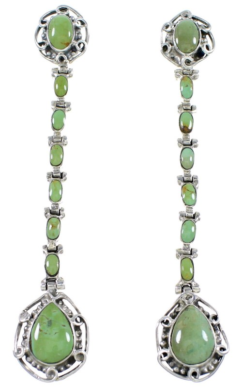 Authentic Sterling Silver And Turquoise Post Dangle Earrings RX70826