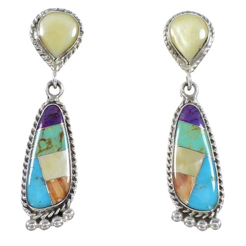 Sterling Silver Multicolor Southwest Post Dangle Earrings PS63058