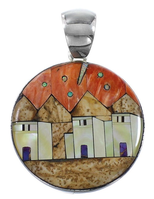 Multicolor Native American Village Design Silver Pendant YS62867