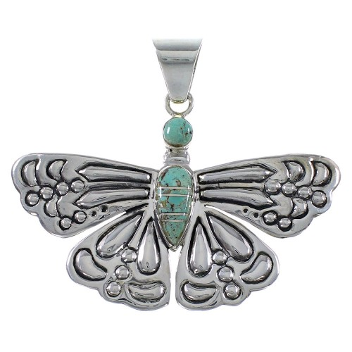 Turquoise Genuine Sterling Silver Butterfly Pendant Jewelry DW72885