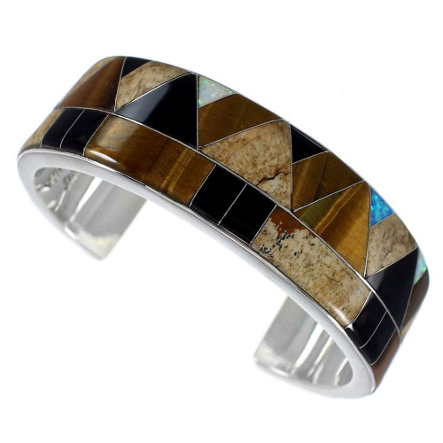 Sterling Silver Multicolor Inlay Whiterock Bracelet NS39303